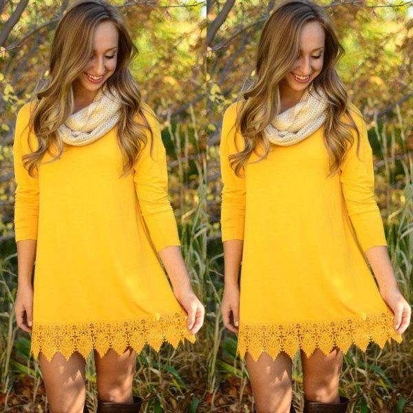 ファッション女性ロングスリーブルーズカジュアルトップスブラウスTシャツショートミニドレス