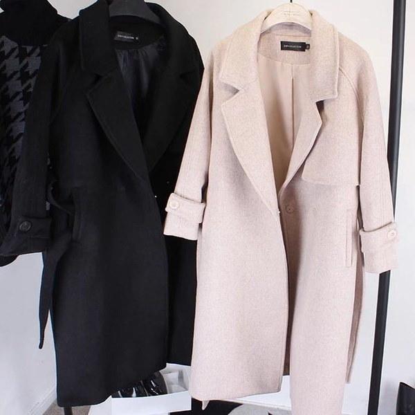 冬の女性ファッションウォームラペルロングウールコートロングスリムオーバーコートベルト付き