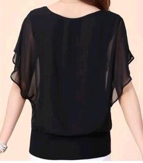 ホットファッションBlusa Feminina夏カジュアルプラスサイズスリムバットウィングスリーブシフォンシャツブラウス