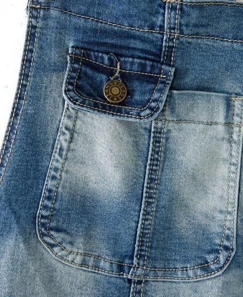 真鍮のボタンでストーンウォッシュデニムオーバーオール
