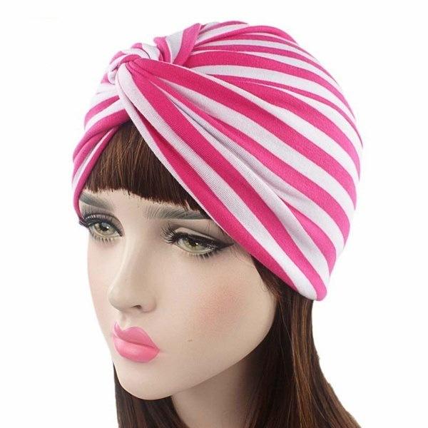 スタイリッシュな女性Sストライプコットンターバン帽子女性Sツイストプリーツ入浴ターバンヘッドカバービーニー