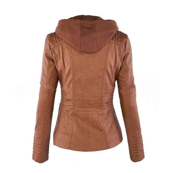 ファッション女性ベーシックラペルジャケットボンバーレザーウィンターコートヨーロッパアウターウェアチャペルムージャーキャッサック