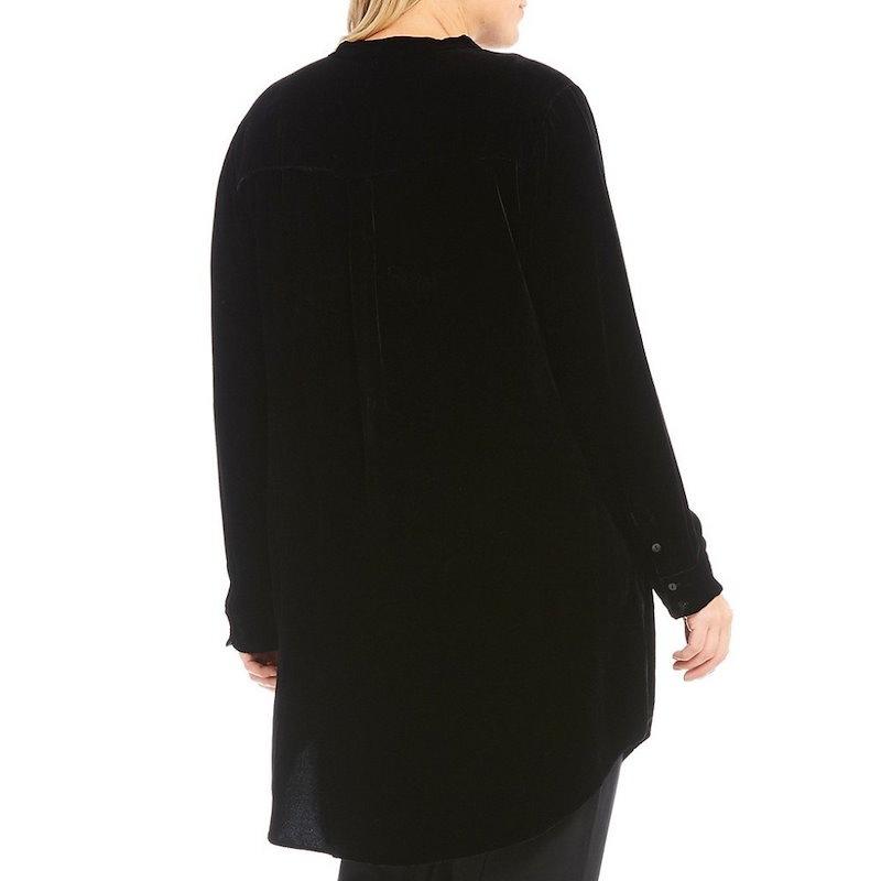 アイリーンフィッシャー レディース トップス ブラウス・シャツ【Eileen Fisher Plus Mandarin Collar Long Shirt】Black