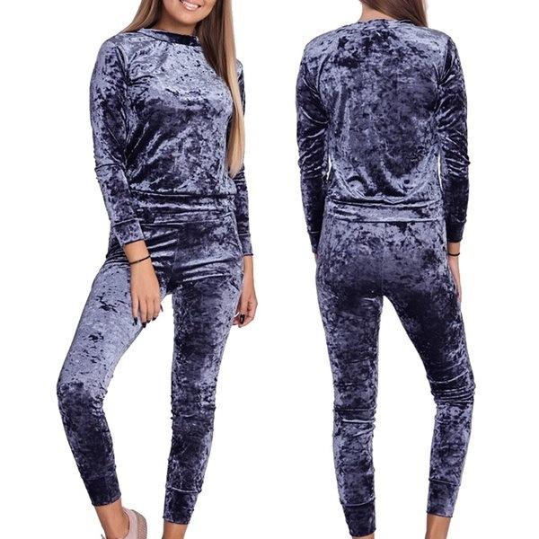 新しいファッション女性のカジュアルなO  - ネックロングスリーブリントスポーツウェアセットトラックスーツ(サイズ:S、カラー:ブラック)