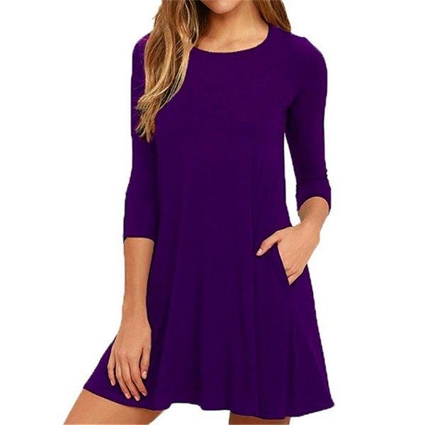 Femme 3/4 Sleeveミニスリムパーティードレスのための新しい秋ルーズカジュアルポケットドレス