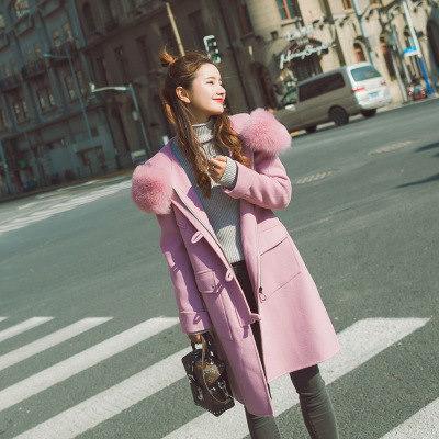 レディース ラシャコート  ピュアカラー  フェックファー  秋冬厚手 コート  アウター シンプル  韓国ファッション