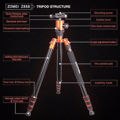 Zomei Z818 Portable Professional Aluminum Travel Camera Tripod with quick release plate monopod flex