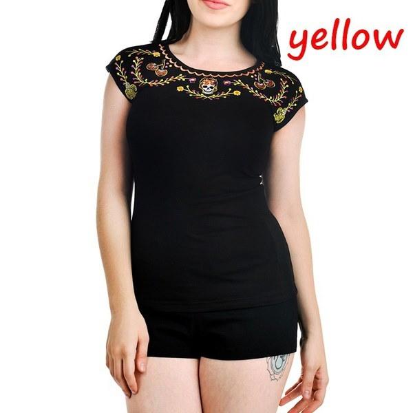 女性のファッションショートスリーブパンクスタイルスカルプリントカジュアルコットンTシャツトップS-5XL ZH5251