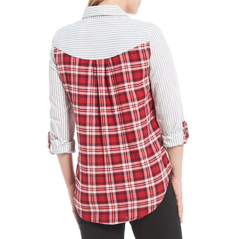 ウエストバウンド レディース トップス ブラウス・シャツ【Westbound Petites One Pocket Popover Shirt】Stripe/Plaid