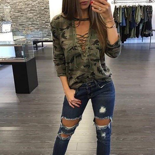 2017 New Women Sexy Lace Up Long Sleeve T-Shirt Slim Casual Camouflage Print Tops