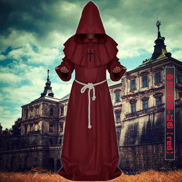 ハロウィーンのローブの服コスプレウィザードの神父のクリスチャンモンクローブの魔女の服のトップスハロウィンの部分