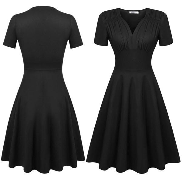 女性ヴィンテージスタイルスウィートハートネック半袖花/固体プリーツスウィングドレス