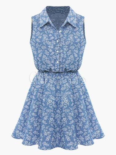 Shirt Collar Sleeveless Skater Dress With Floral Print