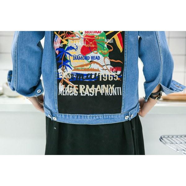 ジャケット アウター Gジャン デニム ショート 長袖 襟付きジャケット デニムブルゾン 春夏 アニマル柄 ライトブルー カジュアル バックプリント 個性 ブルゾン