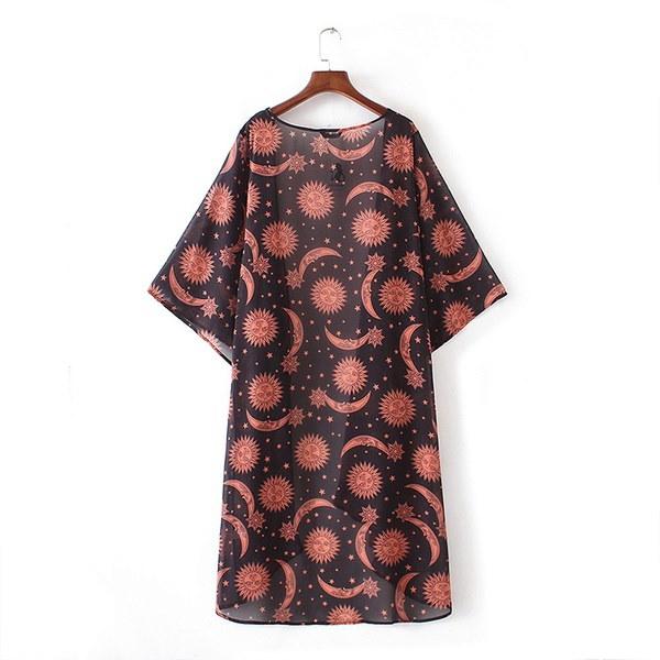 割引Feitong女性花柄プリントシフォンルーズショール着物カーディガントップカバーアップシャツブラウス