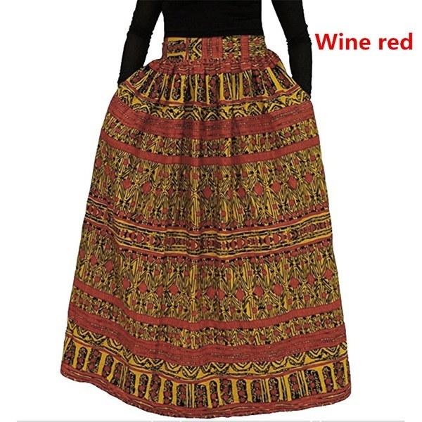 Fashion Ladies African Dashiki Hippie High Waist Flare Long Skirt Dress