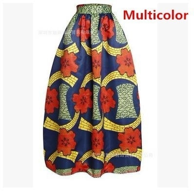 Fashion Ladies African Dashiki Hippie High Waist Flare Long Skirt Dress