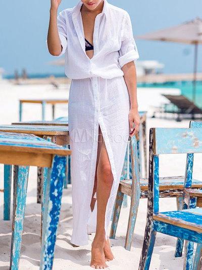 White Maxi Dress Split Deep-V Chiffon Summer Dress