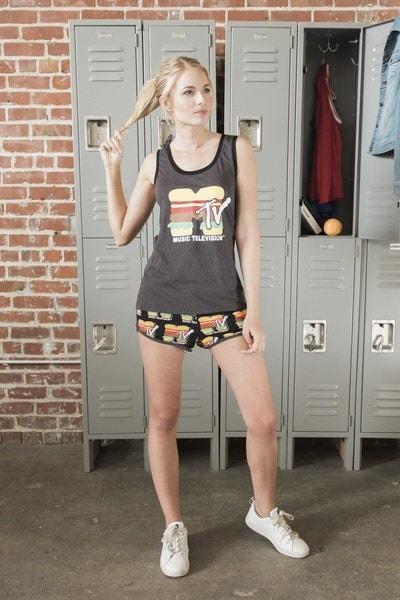 MTVジュニアレディースファッションハンバーガーグラフィックタンク&ボクサーパジャマパジャマPJセット、アメリカサイズXS-XL
