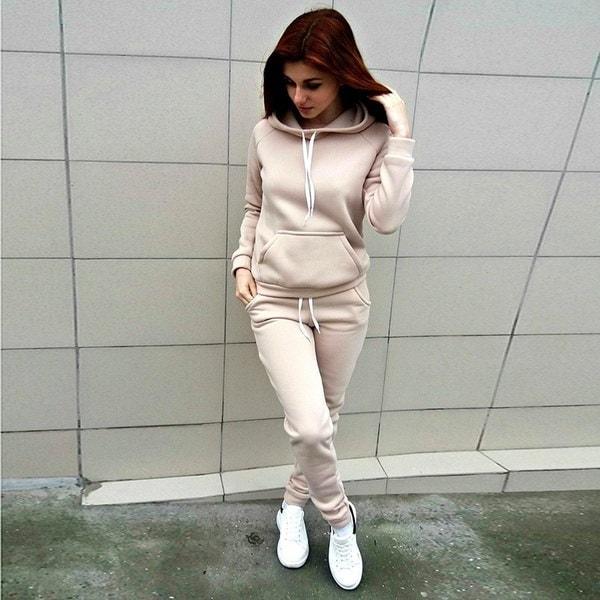 ファッション秋の女性Tracksuits長袖フード付きスエットシャツ+ロングパンツTwo Piece Set Sportsuit D