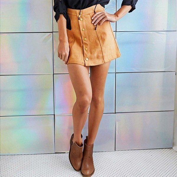 Empire Sexy Faux Suede Women A-Line Button Mini Skirts Summer Preppy Solid