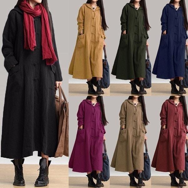 ZANZEA Women Long Sleeve V Neck Cotton Hooded Casual Loose Maxi Dress Kaftan