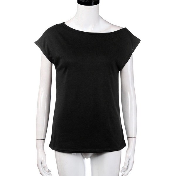 Bpfair Fashion WomenルーズプルオーバーTシャツSolid Off Shoulder Casual Blouse
