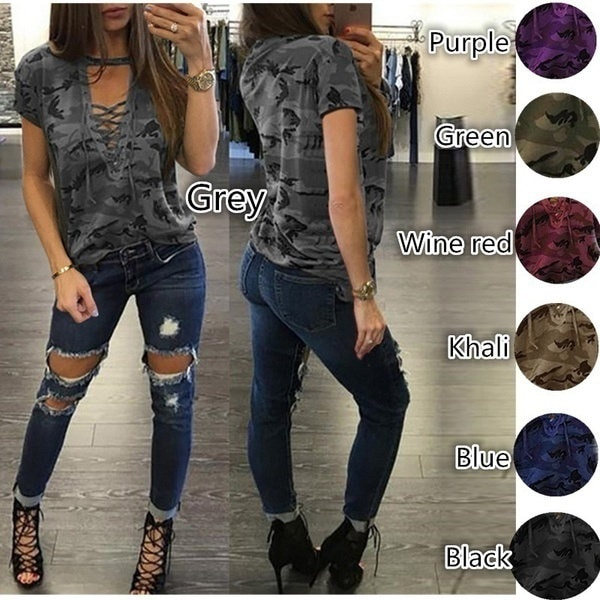 2017 Women Sexy Lace up Long Sleeve T-Shirt Slim Casual Camouflage Print Tops (7 Color S-5XL)