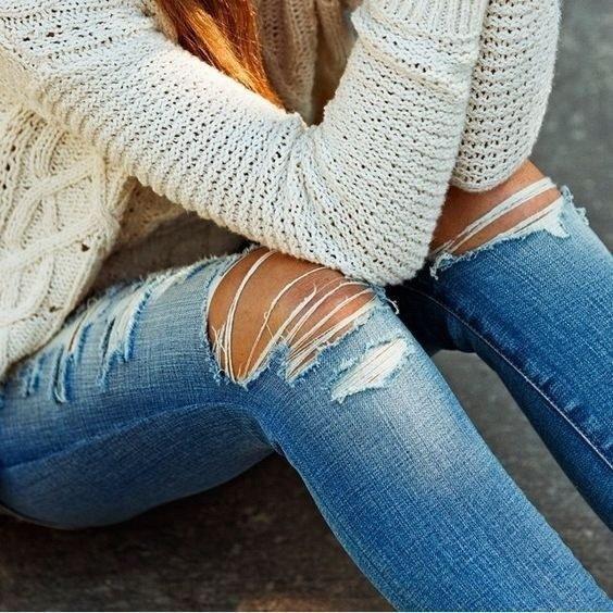 NEWDFレディースファッションデニム鉛筆パンツボーイフレンドリップジーンズ