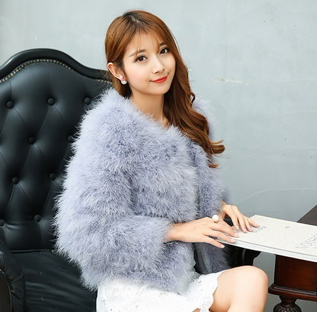 Hot Fashion Autumn Ostrich Fur Jacket And Cotton Coat H-SP161014-4
