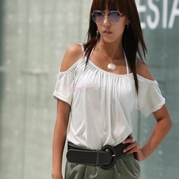 新しいファッション新しいプラスサイズの女性の夏のカジュアルフラウンシングスリーブネックシフォンブラウスSV004118