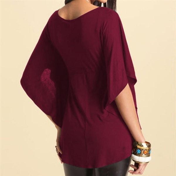 女性夏ファッションカジュアルVネックブラウスシャツビッグサイズM-3XL