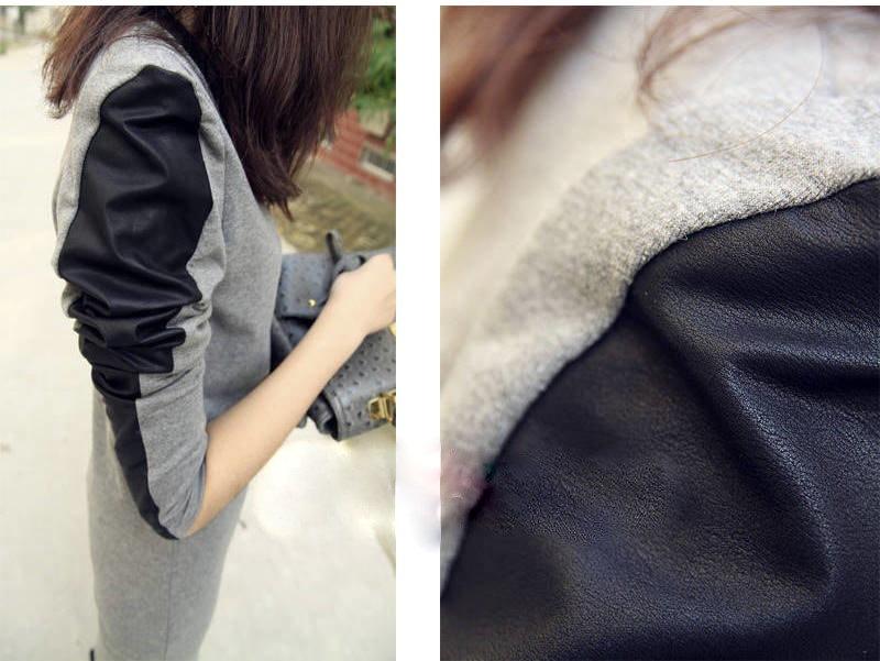 ワンピース ドレス スウェット 黒い 革素材 特徴 タイト 春 夏 新作 02P13Dec15
