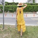 夏休養ルック反転ドィトトゥイムノースリーブシャーリングフリルロングワンピースデイリールックkorea women fashion style