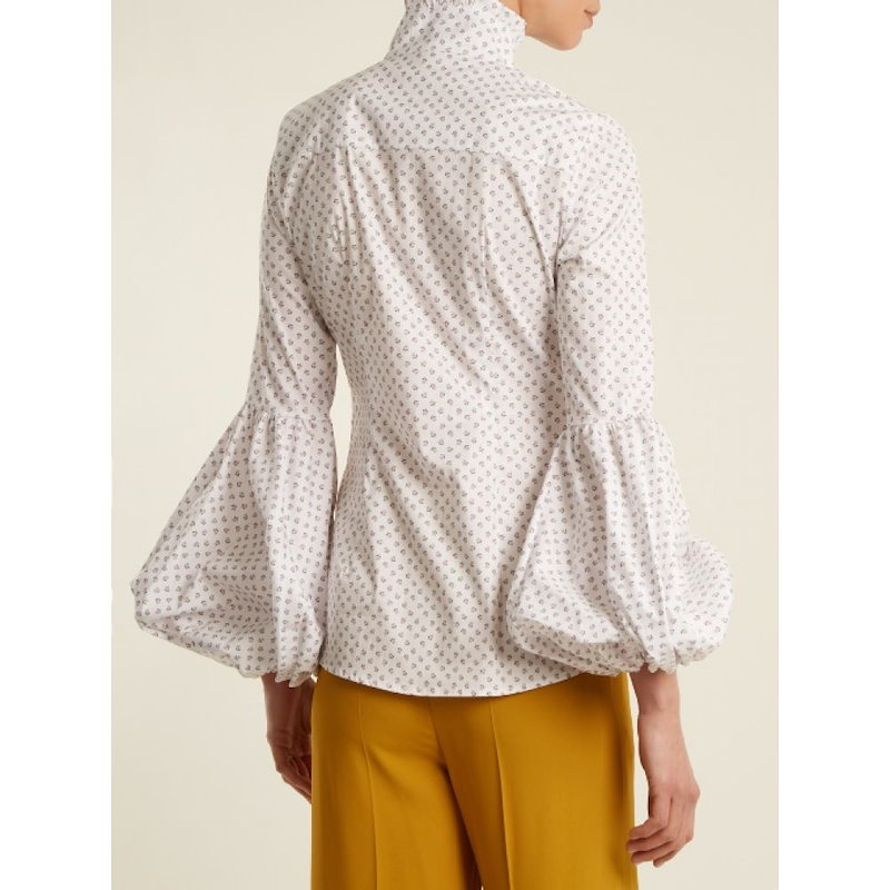 キャロライン コンスタス レディース トップス ブラウス・シャツ【Jaqueline micro floral-print cotton shirt】White