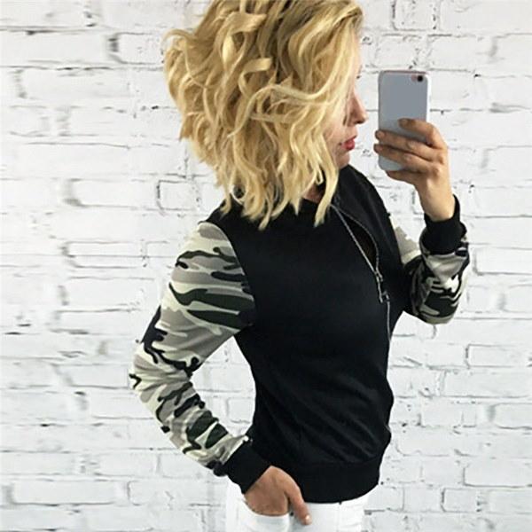 女性のファッションロングスリーブカモフラージュスタンディングカラースウェットジャケットトップス