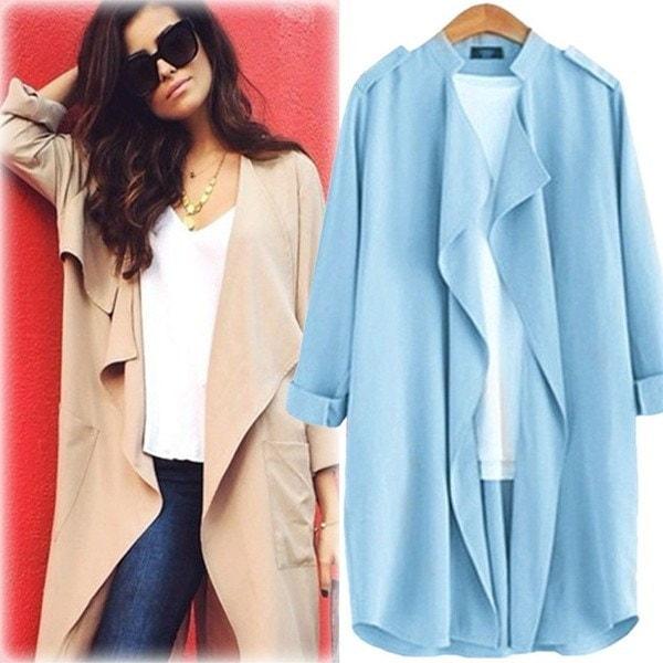 カーディガン スプリングコート 薄て ジャケット レディース ウェア 無地 トップス 7分袖 ロング丈 スプリングコート