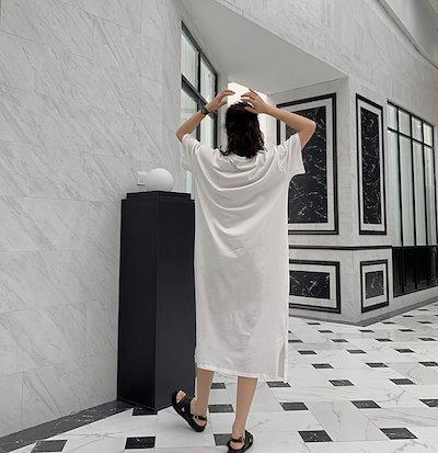 春新作 春服 カットソーワンピース コットン ロング丈 クルーネック 五分袖 ゆったり カジュアル お出かけ 女子会 トレンド 白 Tシャツ