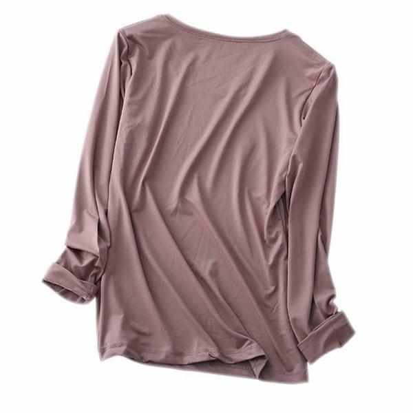 女性のカジュアルな長袖Tシャツソリッドティーシャツシンプルルーズトップ