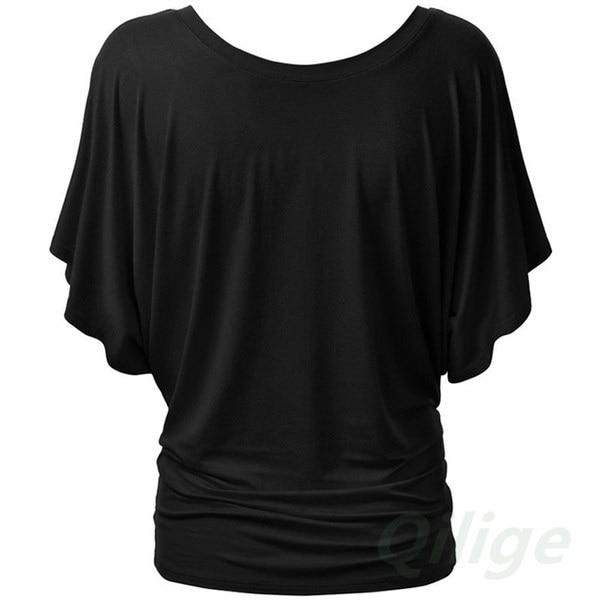 スタイリッシュなドレス女性ラウンドネックバットスタイルのTシャツスリムコットンポリエステルTシャツ