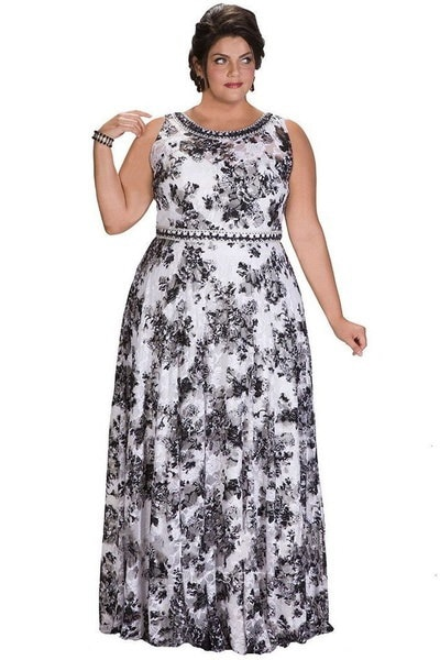女性のファッションプラスサイズマキシドレス花プリントノースリーブウエディングドレス