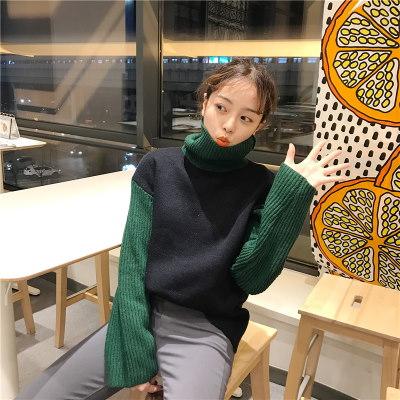 秋冬/女性服/新しいデザイン/韓国風/ハイネック/ヒットカラー/何でも似合う/長袖セーター/ルース/ヘッジ/セーターの女性/学生
