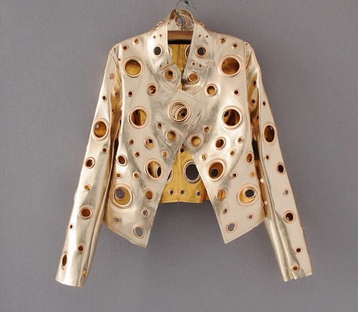 春の女性のレザージャケット新しい襟襟pu女性ジャケット中空金属短い段落オートバイジャケット