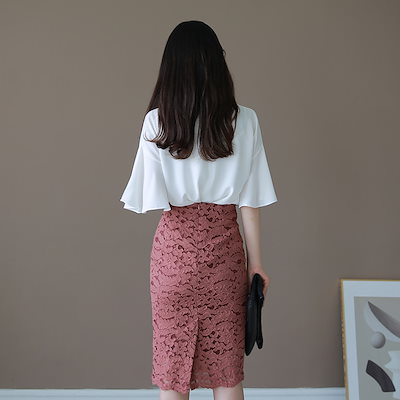 Benito (韓国ファッション)[BENITO ベニト]Serubスカート(Pink) ★ 韓国ファッション/配送料無料/洗練されたHラインレーススカート