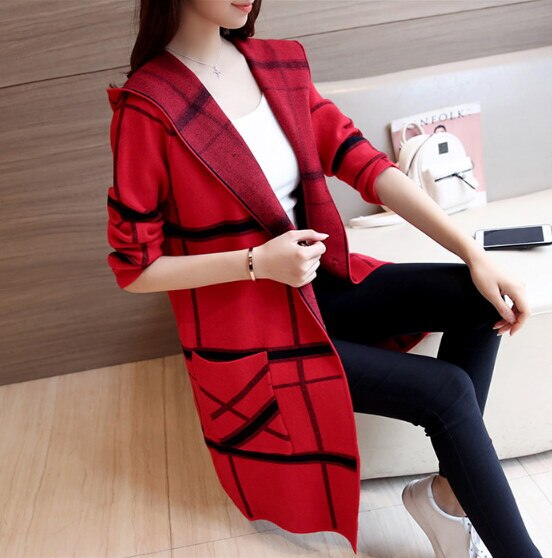 新しい秋冬フード付きチェック柄女性セーターコート長袖媒体ロングニット女性セーターコートs-xl