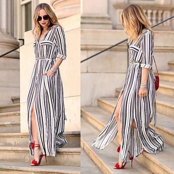 Kilimallレディースカジュアルセクシーなスリット縦縞の長いマキシシャツドレスパーティービーチドレス