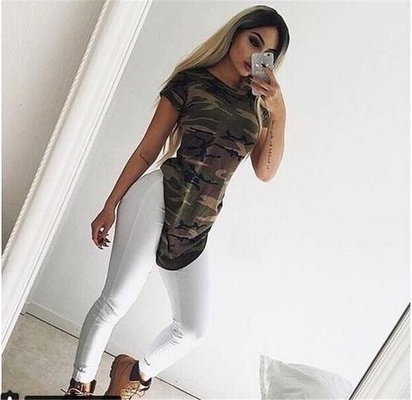 ホットファッション女性のカモ印刷チュニックトップススリットラウンドネック半袖の女性のトップス