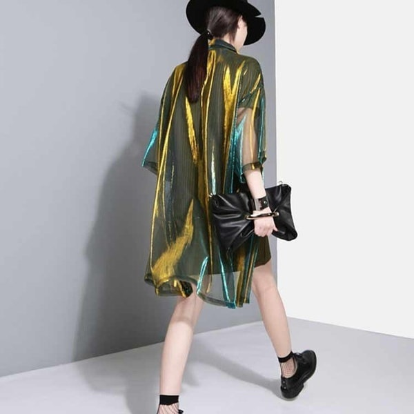 Women Holographic Laser Summer Jacket Hologram see through Transparent Shirt Iridescent Coat