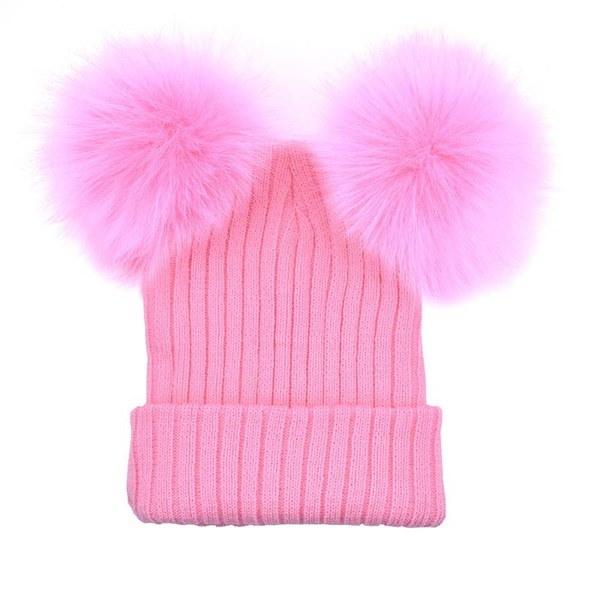 最高の贈り物ファッション女性の帽子2つのかわいいぬいぐるみのビーズニットBeanies Winter Keep Warm Crochet編まれた