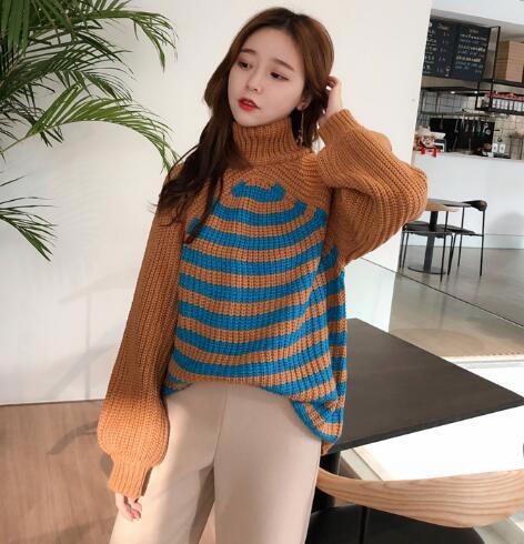 [55555SHOP]韓国ファッション レディース 美人ニット パフスリーブ リブ袖 体型カバーになる 女子力UP タートルネック ニット トップス